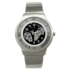 Black and white tree Stainless Steel Watch