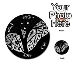Black and white tree Playing Cards 54 (Round)