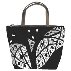 Black and white tree Bucket Bags