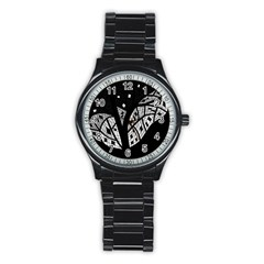 Black and white tree Stainless Steel Round Watch