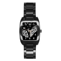 Black and white tree Stainless Steel Barrel Watch