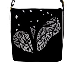 Black and white tree Flap Messenger Bag (L)