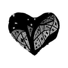Black and white tree Standard 16  Premium Flano Heart Shape Cushions
