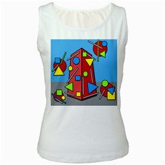 Crazy building Women s White Tank Top