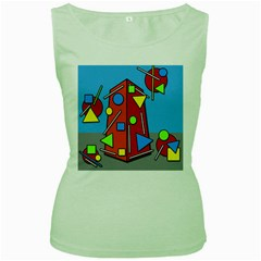 Crazy building Women s Green Tank Top