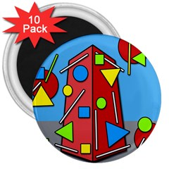 Crazy building 3  Magnets (10 pack)