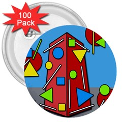 Crazy building 3  Buttons (100 pack)
