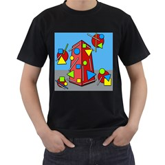 Crazy building Men s T-Shirt (Black) (Two Sided)