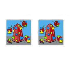 Crazy building Cufflinks (Square)