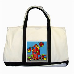 Crazy building Two Tone Tote Bag