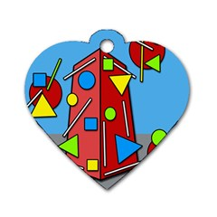 Crazy building Dog Tag Heart (One Side)