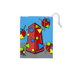 Crazy building Drawstring Pouches (Small)