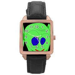 Alien by Moma Rose Gold Leather Watch