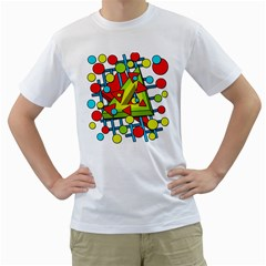 Crazy geometric art Men s T-Shirt (White) (Two Sided)