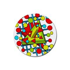 Crazy geometric art Rubber Coaster (Round)
