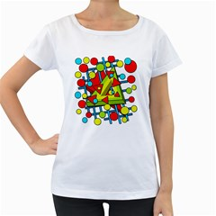 Crazy geometric art Women s Loose-Fit T-Shirt (White)