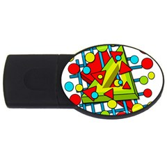 Crazy geometric art USB Flash Drive Oval (4 GB)