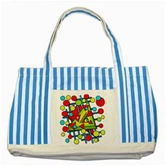 Crazy geometric art Striped Blue Tote Bag