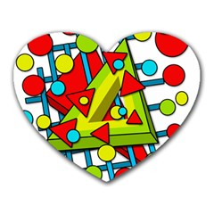 Crazy geometric art Heart Mousepads