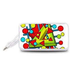Crazy geometric art Portable Speaker (White)