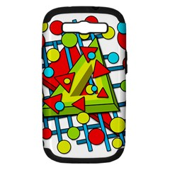 Crazy geometric art Samsung Galaxy S III Hardshell Case (PC+Silicone)