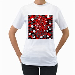 Red mess Women s T-Shirt (White) (Two Sided)
