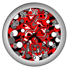 Red mess Wall Clocks (Silver)