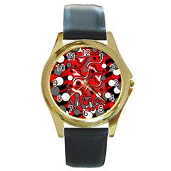 Red mess Round Gold Metal Watch