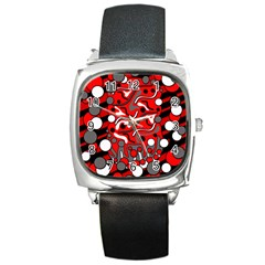 Red mess Square Metal Watch
