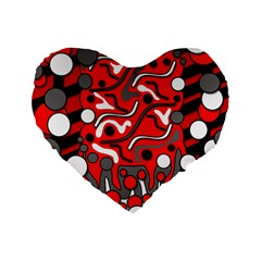 Red mess Standard 16  Premium Heart Shape Cushions