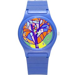 Decorative tree 4 Round Plastic Sport Watch (S)