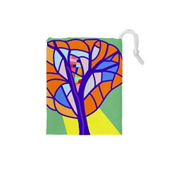 Decorative tree 4 Drawstring Pouches (Small)