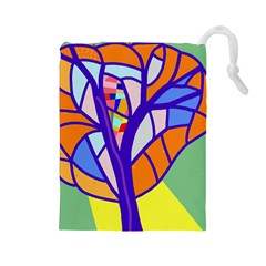 Decorative tree 4 Drawstring Pouches (Large)