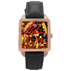 Orange floating Rose Gold Leather Watch