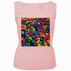 Funny Colorful Red Yellow Green Blue Kids Play Balls Women s Pink Tank Top