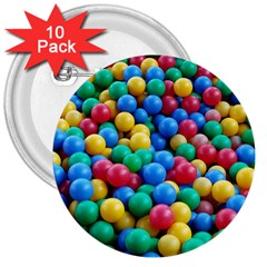 Funny Colorful Red Yellow Green Blue Kids Play Balls 3  Buttons (10 pack)