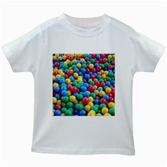 Funny Colorful Red Yellow Green Blue Kids Play Balls Kids White T-Shirts