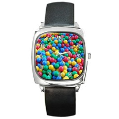 Funny Colorful Red Yellow Green Blue Kids Play Balls Square Metal Watch