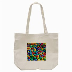 Funny Colorful Red Yellow Green Blue Kids Play Balls Tote Bag (Cream)