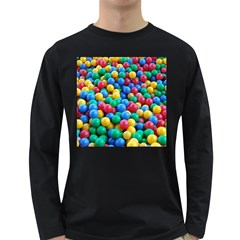 Funny Colorful Red Yellow Green Blue Kids Play Balls Long Sleeve Dark T-Shirts