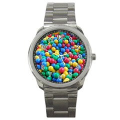 Funny Colorful Red Yellow Green Blue Kids Play Balls Sport Metal Watch