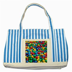 Funny Colorful Red Yellow Green Blue Kids Play Balls Striped Blue Tote Bag