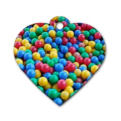 Funny Colorful Red Yellow Green Blue Kids Play Balls Dog Tag Heart (one Side)