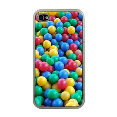 Funny Colorful Red Yellow Green Blue Kids Play Balls Apple iPhone 4 Case (Clear)
