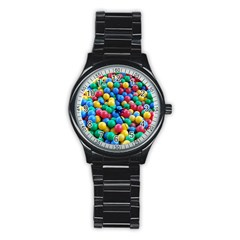 Funny Colorful Red Yellow Green Blue Kids Play Balls Stainless Steel Round Watch