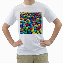 Funny Colorful Red Yellow Green Blue Kids Play Balls Men s T-Shirt (White)