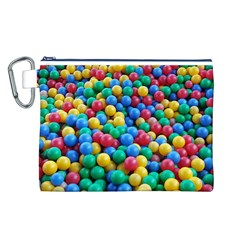 Funny Colorful Red Yellow Green Blue Kids Play Balls Canvas Cosmetic Bag (L)