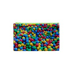 Funny Colorful Red Yellow Green Blue Kids Play Balls Cosmetic Bag (XS)