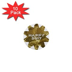 Happy New Year 2017 Gold White Star 1  Mini Buttons (10 pack)