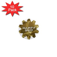 Happy New Year 2017 Gold White Star 1  Mini Magnet (10 pack)